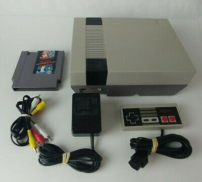Nintendo Nes Console System with Super Mario Bros Duck Hunt Game Zapper Tested!