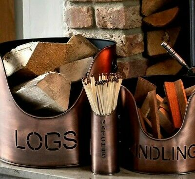 Set of 3 LOGS KINDLING MATCHES buckets holders metal aged COPPER colour Fireside