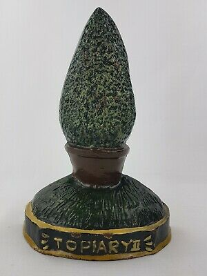 Large Heavy Vintage CAST IRON door stop doorstop wedge topiary tree bush plant
