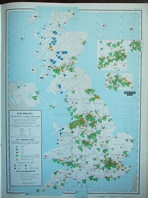 Vintage Large Map Britain Electricity Production Stations Output Distribution