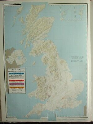 VINTAGE LARGE MAP of BRITAIN BROADLEAVED WOODLANDS AGE CLASSES FORESTRY