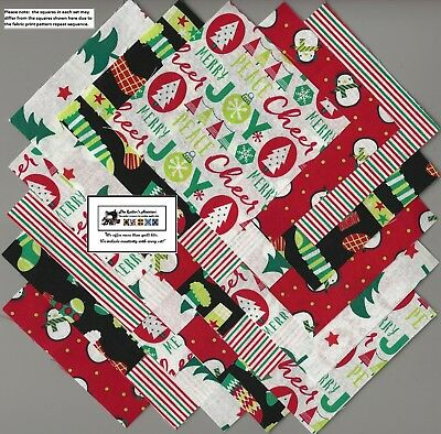 "25-5"" Christmas Stockings Joy Fabric Squares/Quilt/Craft/Sew/Charm Pack #5027"