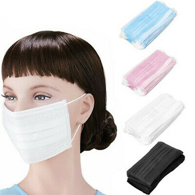 100PCS Disposable Face Masks Breathable Dust Filter Mouth Cover with Ear Loop