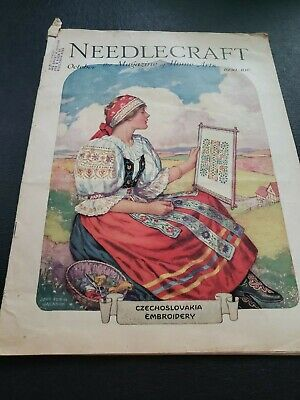 1930 October Needlecraft magazine Czechoslovakia Embroidery