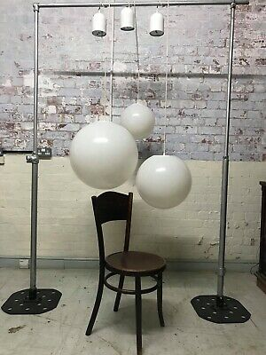 Vintage Industrial Large Triple Globe Hanging Hall Ceiling Light Chandelier.