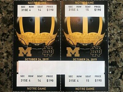 2 Michigan vs Notre Dame Football Tickets - Club Seats (10/26/19)