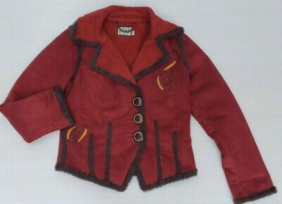 MS&Co Wraps Canvasbacks Red Fleece Lined Vintage Suede Jacket Women's Small