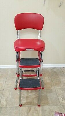 VINTAGE STEP STOOL Chair Retro Counter with Lift-up Seat ...
