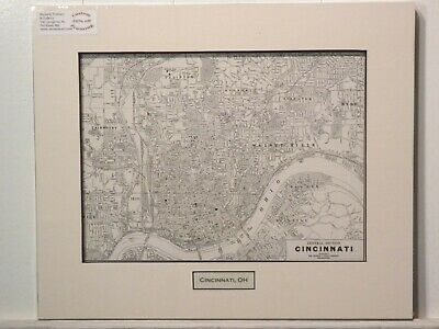 Antique Original Rand McNally Map of Cincinnati OH, lift-matted with inset title