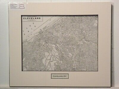Antique Original Rand McNally Map of Cleveland OH, lift-matted with inset title