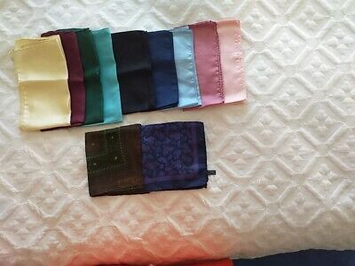 Men's Assorted Silk Pocket Handkerchief's-Job Lot of 11 plain colours/ patterns