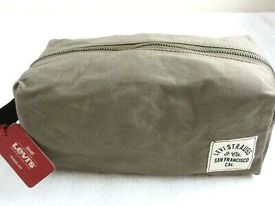 Levi Strauss Travel shaving Kit Toiletry Bag Olive Green Brown NWT Free Ship