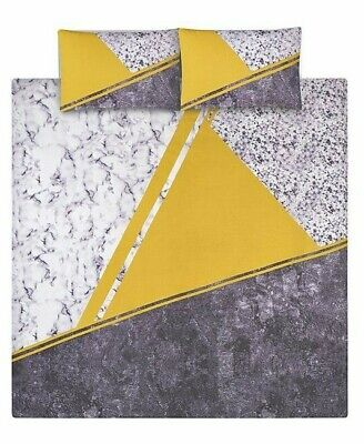 Grey and Yellow Panelled Marble Effect Duvet Set Size: Single Double King