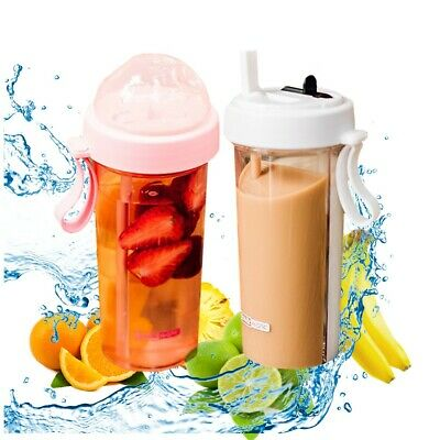 Fruit Infuser - Water Bottle 600ml, BPA-Free, Two Straws for Dual Drink- White