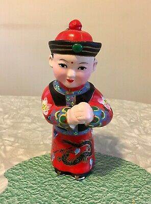 Vintage Chinese Gold Boy Porcelain Hand Painted Figurine Lucky Statue