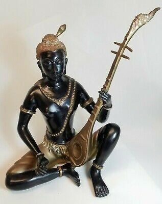 Thai Bronze Statue of Prince Phra Aphai Mani With Lute Guitar