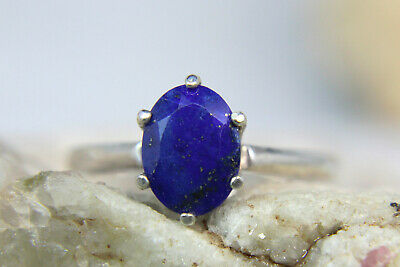 LAPIS LAZULI - Cobalt Blue Faceted .925 Sterling Silver Ring 1.11ct FREE SIZING