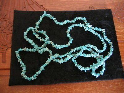 Vintage Very Long Turquoise Nugget Necklace