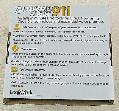 Guardian Alert 911 Medical Alert Full System with Voice Pendant LogicMark 30511