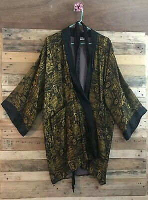 Vintage Black And Gold Embroidered Silk & Satin Men's Kimono Large Made In Japan