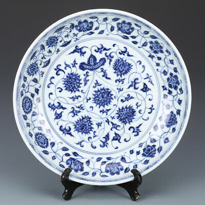Fine Chinese Antique Ming Blue White Porcelain Flowers Plants Plate