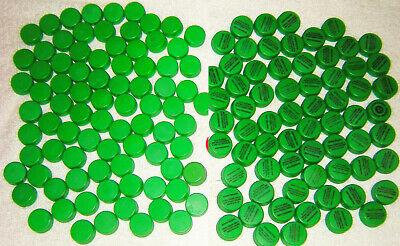 150 Green Colored Mountain Dew Plastic Soda Pop Bottle Caps For Arts & Crafts