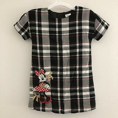 Disney Store girls 5 6 dress shift plaid minnie mouse embroidered short sleeve