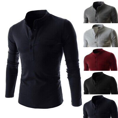 Mens Long Sleeve Button Down T-shirt Tops Slim Fit Casual Dress Formal Shirts