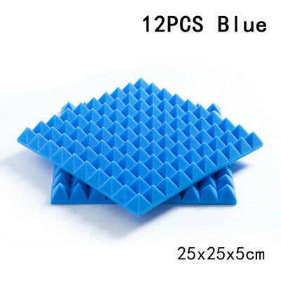 Foam Soundproof Sponge Sound 12pcs Absorption 10*10*2inch Home Pyramid Shape
