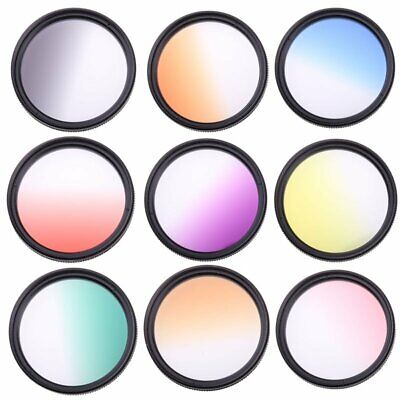49 52 55 58 62 67 72 77mm DSLR Camera Lens Graduated Color Filter for Canon Sony