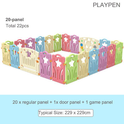 Cuddly Baby Plastic Playpen Toddler Gate Safety Room Fence Lock Divider 22 Panel
