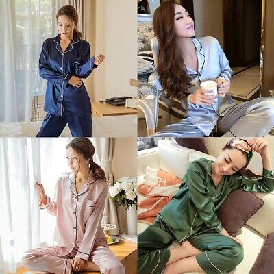 Women Men Silk Satin Pajamas Set Long Sleeve Sleepwear Nightwear Homewear M-XL