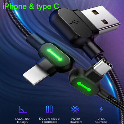 Fast Charging Lightning / Type C Charge Cable L Shape Reversible Usb Unbreakable
