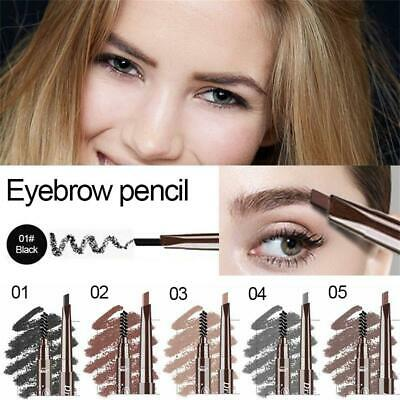 5 Colors Double Ended Eyebrow Pencil Rotate Triangle with Brush Brow Tattoo Pen