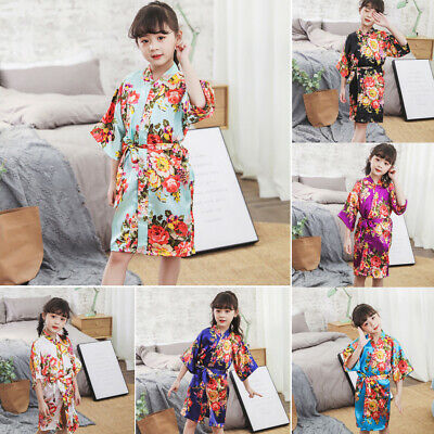 CuteToddler Baby Girls Floral Silk Satin Kimono Robes Bathrobe Sleepwear Clothes