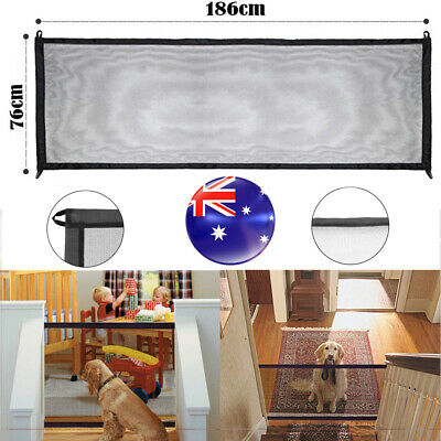 Magic Mesh Pet Dog Gate Door Barrier Safe Guard Fence Enclosure Easy Install AU