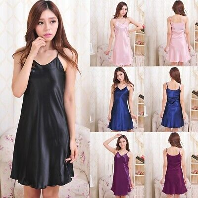 Sexy Women Silky Soft Shiny Satin Chemise Strappy Nightdress Nighty Nightwear