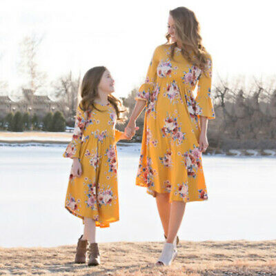 2019 Fit Matching Clothes Women Girls Mother And Daughter Floral Dresses Outfits