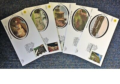 FDC collection of 5 Small Benham silk covers The Trust Centenary Gardens. HC30