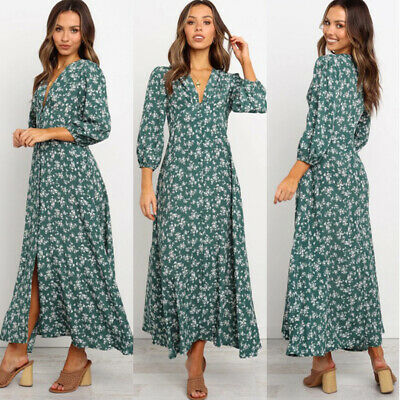 Women Boho Floral 3/4 Sleeve Long Dress Ladies Holiday Summer Beach Maxi Dress
