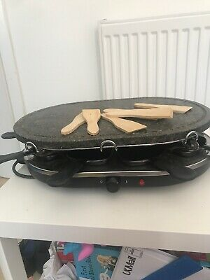 Cooks Professional Raclette Grill 8 Person Traditional Non-Stick Natural Stone