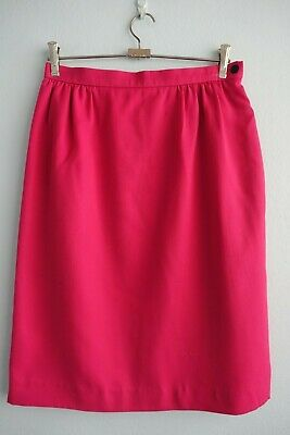 Vintage 1980s Jaeger Gathered Waist Wool Blend Hot Pink Skirt sz 14