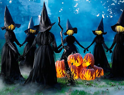 "Holding Hands Witches, Set of Three Outdoor/Indoor Halloween Decor (59"" x 71"")"