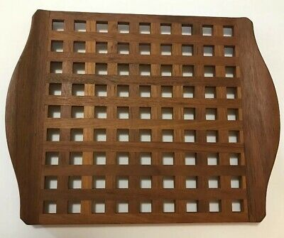 Vintage JHQ Denmark Teak Wood Lattice Serving Tray Dansk Jens Quistgaard