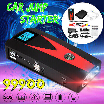 12V 99900mAh LED Car Jump Start Starter Power Bank Booster 2 USB Charger Battery