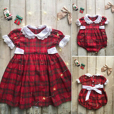 AU Little Big Sister Matching Kids Baby Girl Romper Outfit Xmas Dresses Clothes