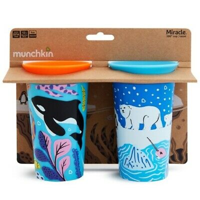 Munchkin Miracle 360 WildLove Sippy Cup Twin Pack: 12m+ (Orca/Polar Bear) (3068)