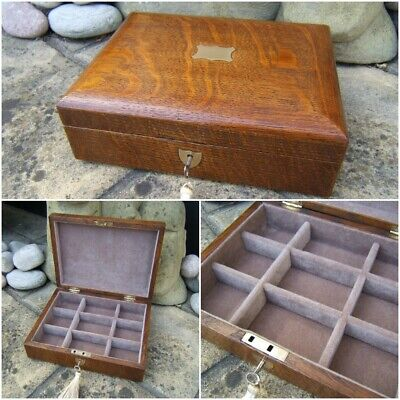 LOVELY 19c SOLID OAK ANTIQUE JEWELLERY/ BOX - FAB INTERIOR