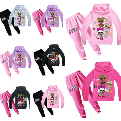 New Lol Surprise Dolls Kids Girls Cosplay Casual Hoodie Sweatshirt+Trousers UK