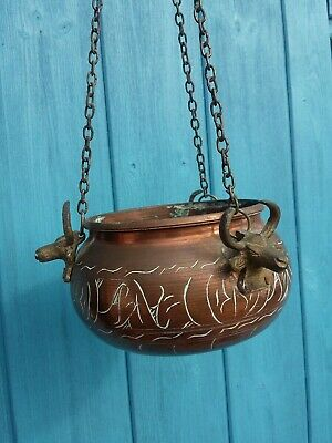 Vintage Hanging Basket Copper Plant Pot with Brass Bull Cow Planter Jardiniere